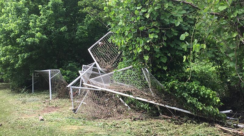 destroyed soccer goal at JBL