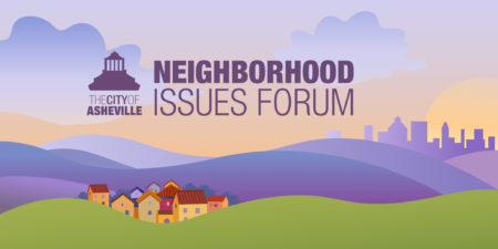 Neighborhood illustration with city logo on it