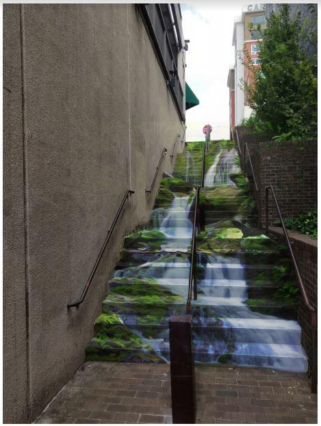 Mural rendering on stairs