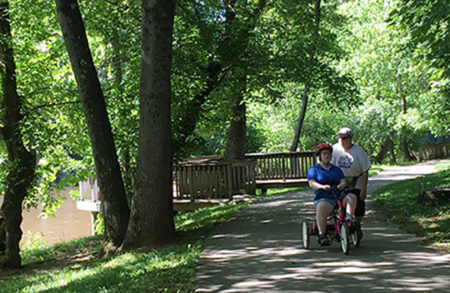 tricycle riders on greenway